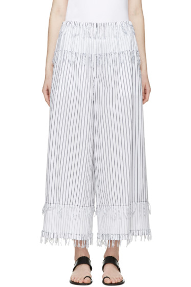Cédric Charlier - White & Navy Fringed Trousers