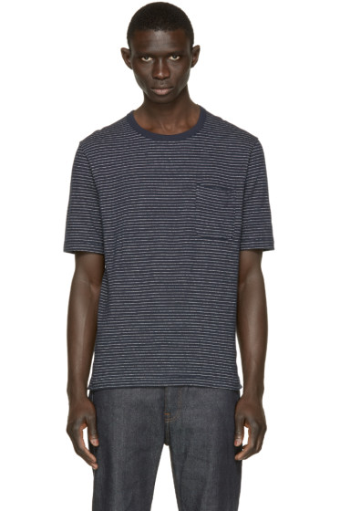 Nanamica - Navy Dotted Stripe T-Shirt