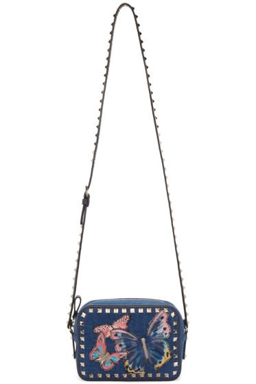 Valentino - Blue Denim Butterfly Rockstud Camera Bag