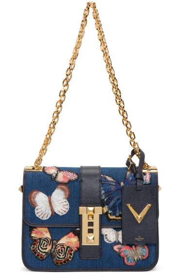 Valentino - Blue Denim Butterfly Rockstud Bag