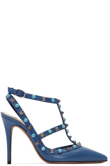 Valentino - Blue Stone & Rockstud Cage Heels