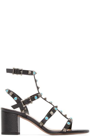 Valentino - Black Stone & Rockstud Cage Sandals