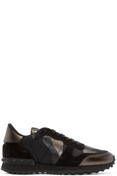 Valentino - Black Camouflage Rockstud Sneakers