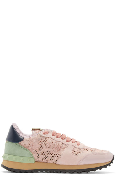 Valentino - Pink Lace Rockstud Low-Top Sneakers