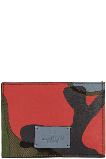 Valentino - Green & Red Camouflage Card Holder