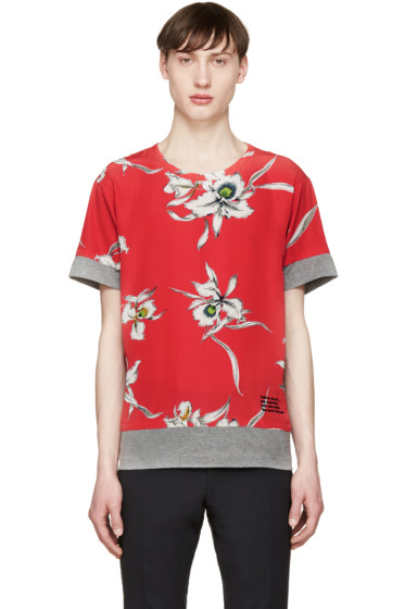 Valentino - Grey & Red Flower T-Shirt