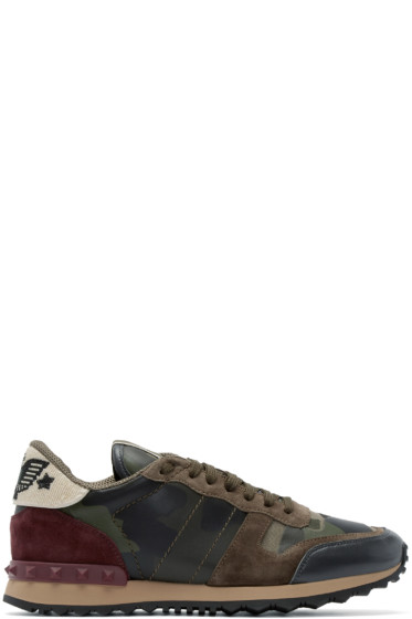 Valentino - Green Beaded Camouflage Sneakers