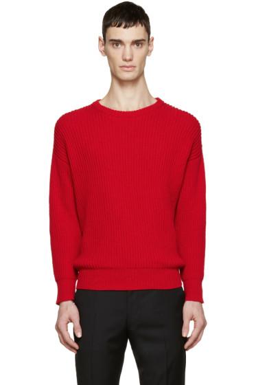 AMI Alexandre Mattiussi - Red Rib Knit Sweater