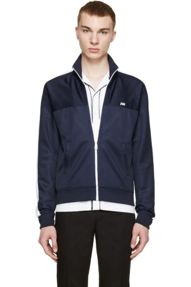 AMI Alexandre Mattiussi - Navy Retro Track Zip-Up Sweater