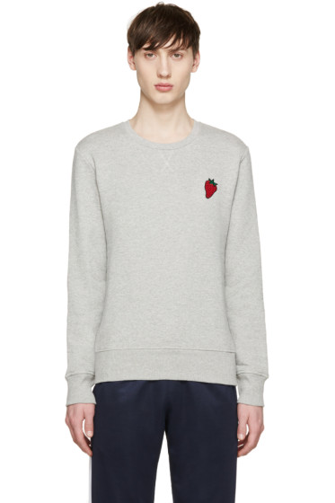 AMI Alexandre Mattiussi - Grey Strawberry Appliqué Sweatshirt