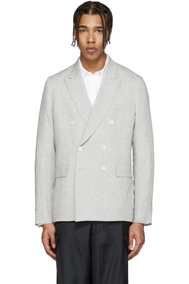Paul Smith London - Grey Linen Double-Breasted Blazer