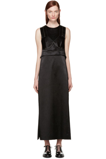 Calvin Klein Collection - Black Satin Topstitched Gabiola Dress
