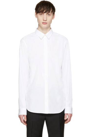 Calvin Klein Collection - White Poplin Topstitched Shirt