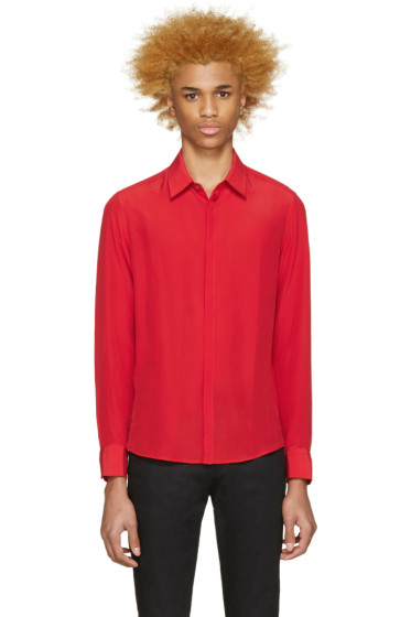Costume National - Red Crepe De Chine Shirt