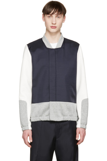 Tim Coppens - Navy & Grey Tailored Bomber Jacket