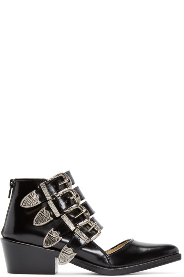 Toga Pulla - Black Western Cut-Out Buckle Boots