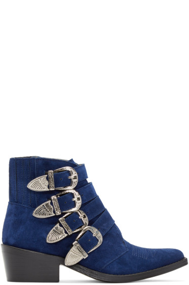 Toga Pulla - Blue Western Buckle Boots