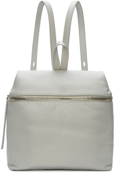Kara - Grey Pebbled Leather Backpack
