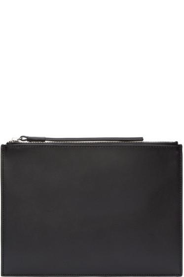 Kara - Black Leather Flat Pouch