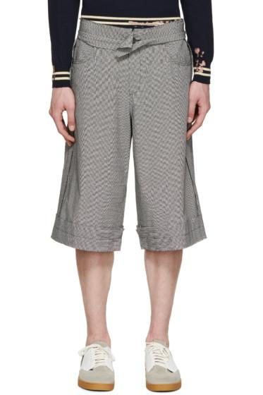 Yang Li - Black & White Houndstooth Linen Shorts