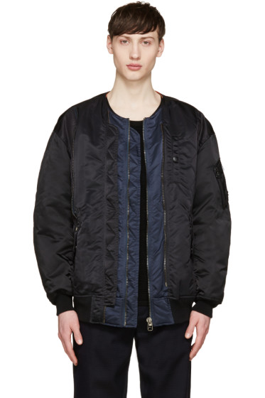 Facetasm - Black & Navy Nylon Bomber Jacket