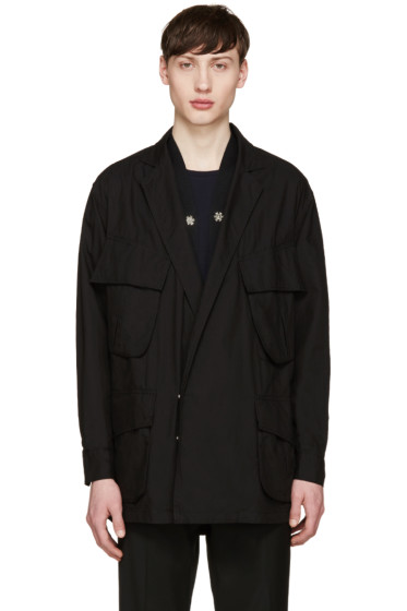 Facetasm - Black Oversized Military Jacket