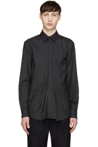 Facetasm - Black Wool Pinstripe Shirt