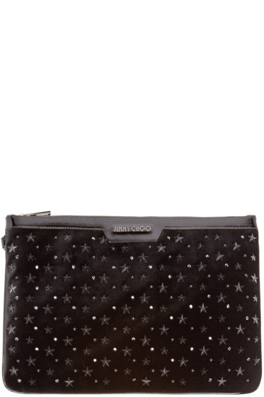 Jimmy Choo - Black Studded Leather & Velvet Derek Pouch