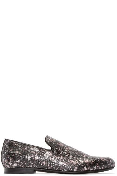 Jimmy Choo - Black Snakeskin Spotted Sloane Loafers