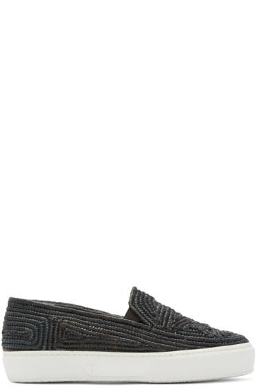 Robert Clergerie - Black Raffia Tribal Slip-On Sneakers