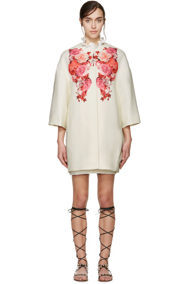 Giambattista Valli - Cream & Red Floral Collarless Coat