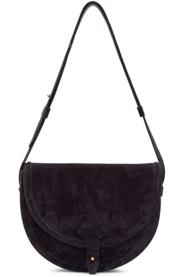 Maiyet - Navy Suede Icon Saddle Bag
