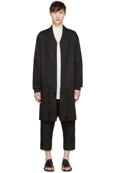 D.Gnak by Kang.D - Black Poplin Detachable Coat