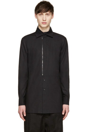 D.Gnak by Kang.D - Black Poplin Front Zip Shirt
