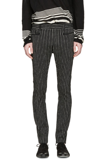 Haider Ackermann - Black & White Striped Otoro Trousers