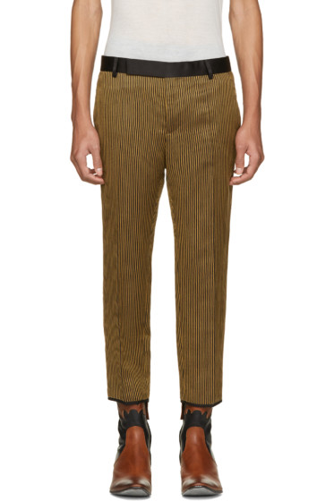 Haider Ackermann - Black & Gold Cropped Striped Trousers