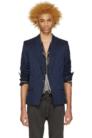 Haider Ackermann - Black & Blue Striped Blazer