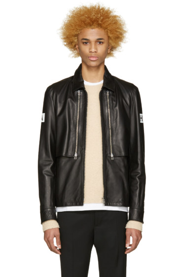 Hood by Air - Black Leather Double Zip Shirt