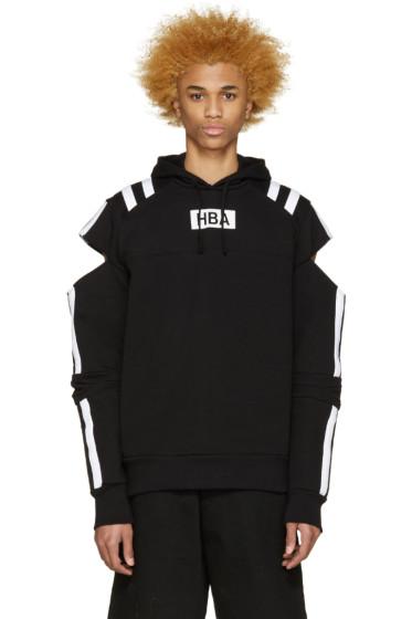Hood by Air - Black & White Logo Fracture Hoodie