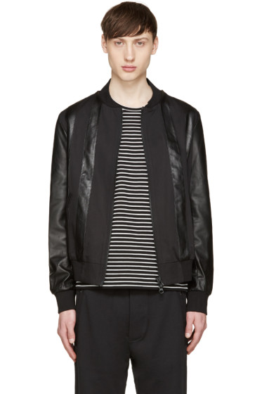 Giuliano Fujiwara - Black Twill & Leather Bomber Jacket