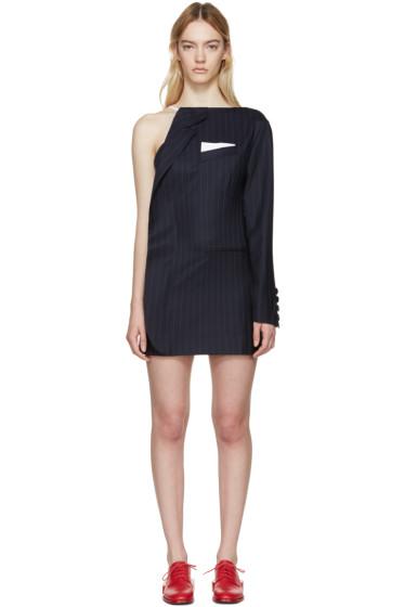 Jacquemus - Navy Pinstripe Demi Vest Dress