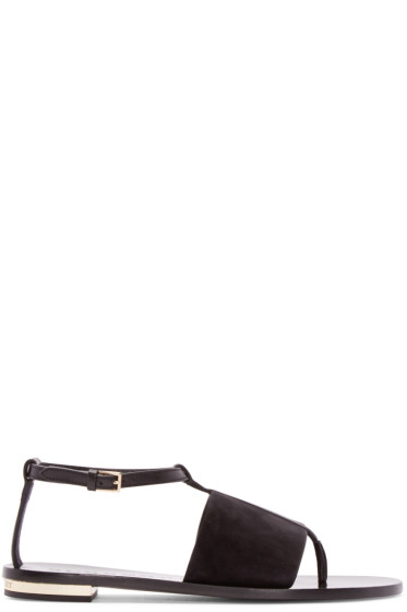 Burberry London - Black Leather & Suede Adelaide Sandals