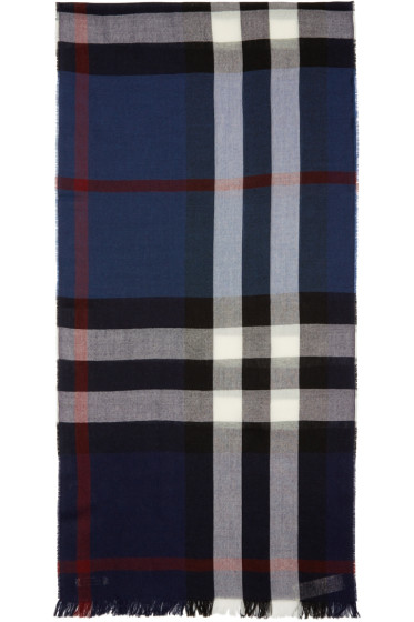Burberry London - Navy Wool & Cashmere Check Scarf