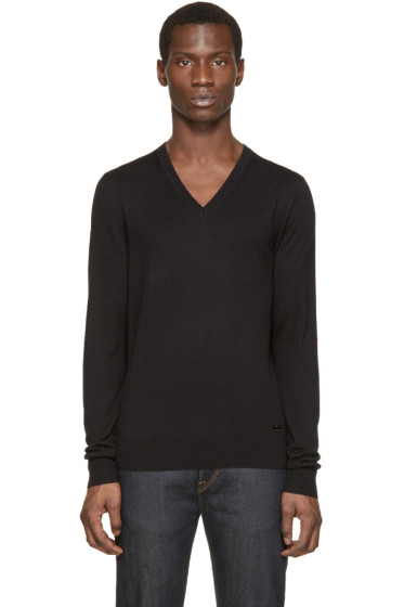 Burberry London - Black Cashmere V-Neck Sweater