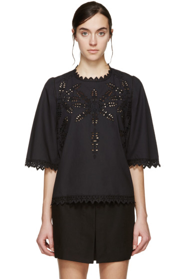 Isabel Marant Etoile - Black Poplin Embroidered Dill Blouse