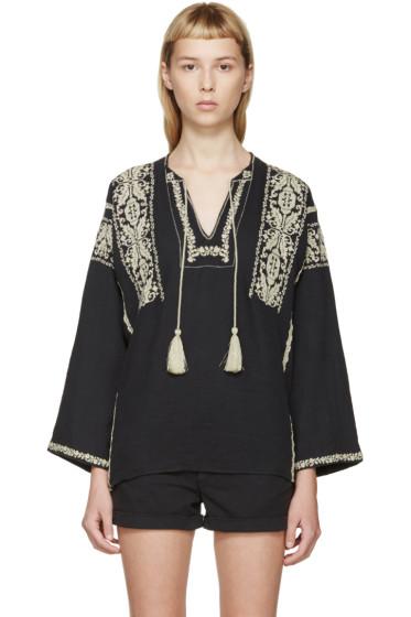 Isabel Marant Etoile - Black & Beige Embroidered Vince Blouse