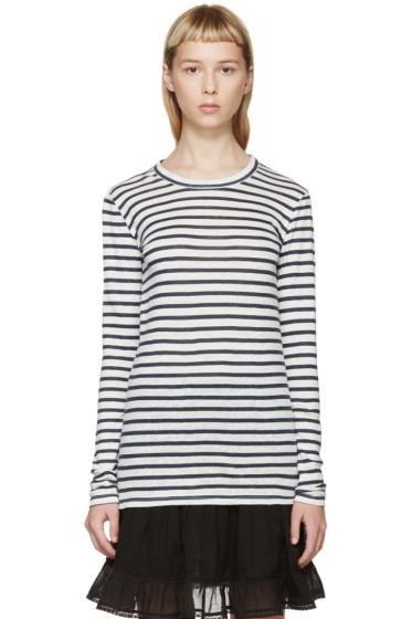 Isabel Marant Etoile - White & Blue Karon Striped T-Shirt