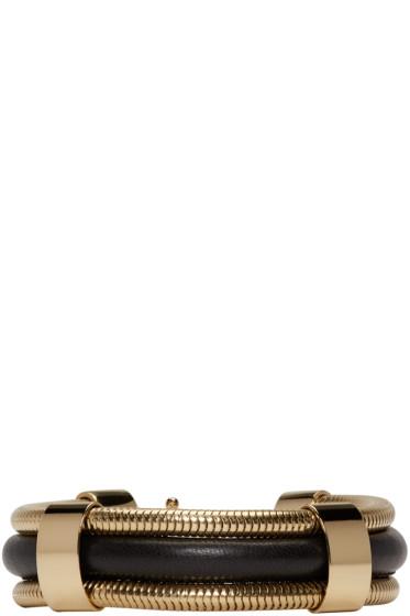 Isabel Marant - Black & Gold Leather Caravanes Bracelet