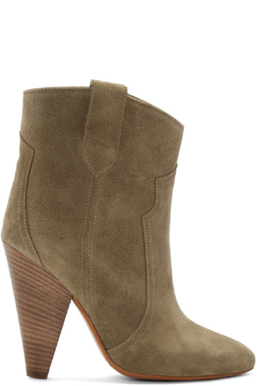 Isabel Marant - Green Suede Roxann Ankle Boots