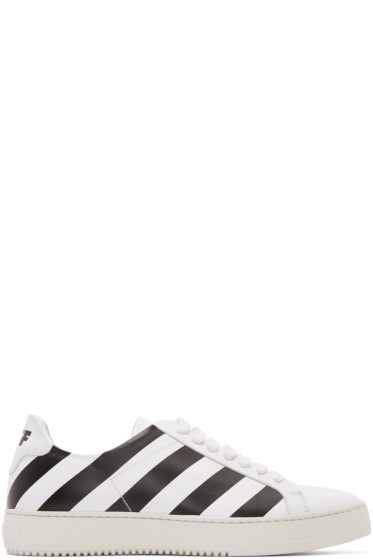 Off-White - White & Black Diagonals Sneakers